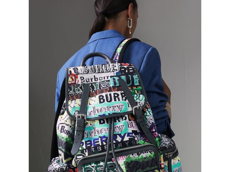 The Large Rucksack in Graffiti Logo Print in Multicolour | Burberry - cell image 4