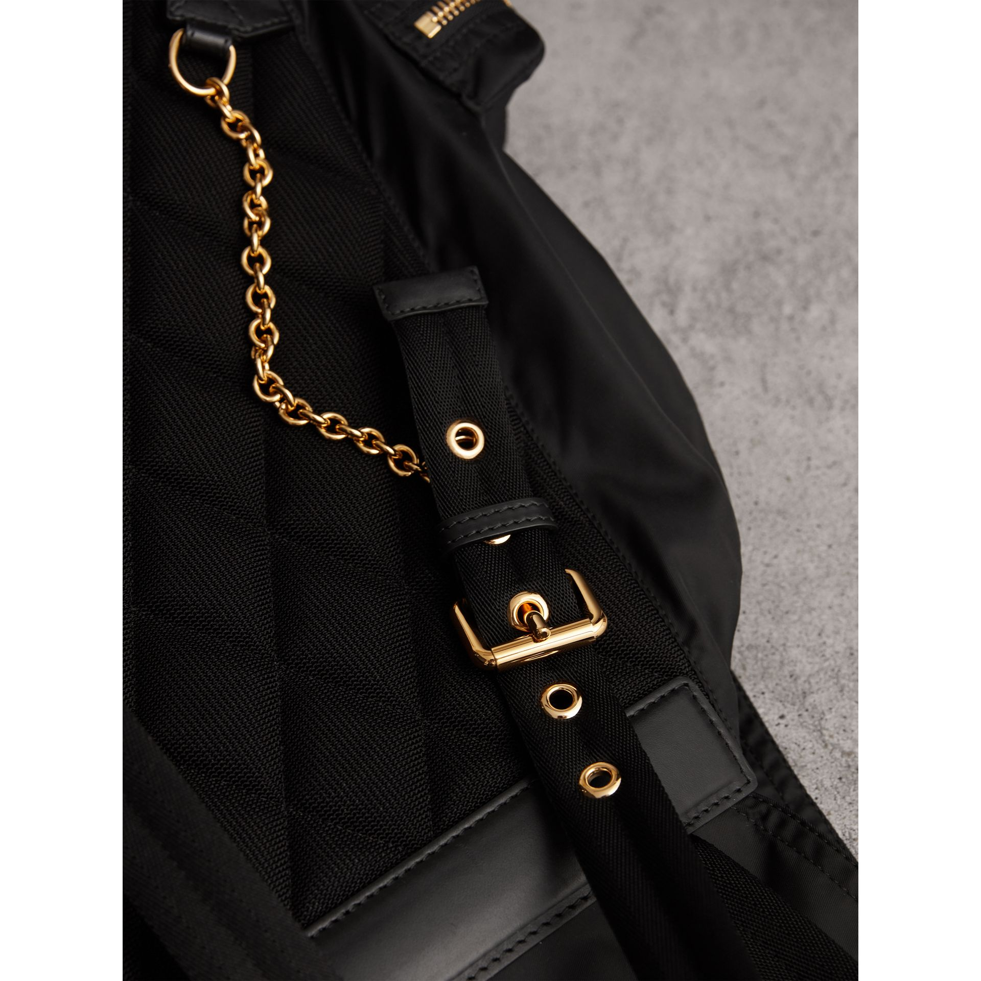 The Large Rucksack in Technical Nylon and Leather in Black - Women | Burberry Australia - gallery image 6