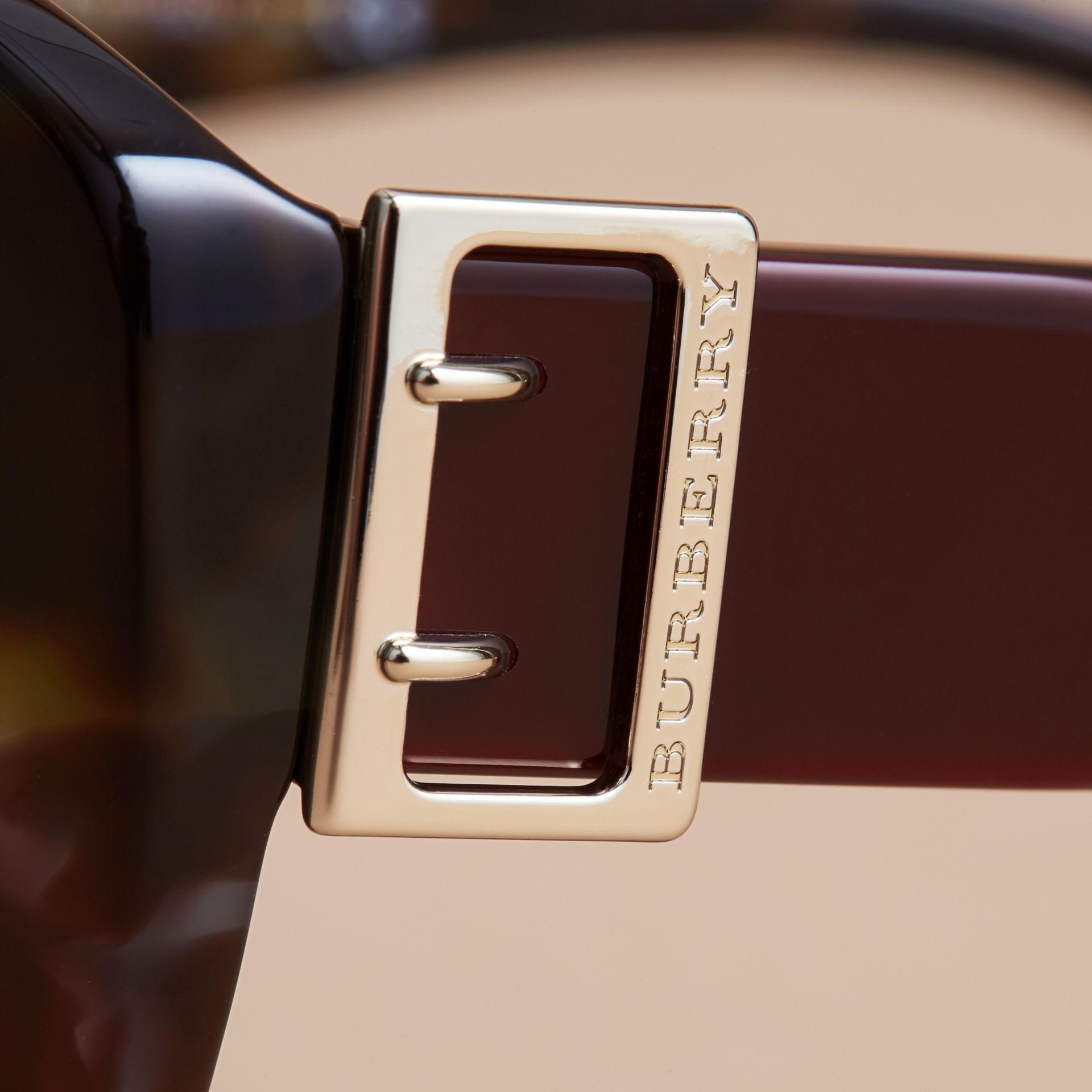 Buckle Detail Oversize Square Frame Sunglasses in Apple Green - Women | Burberry - gallery image 1