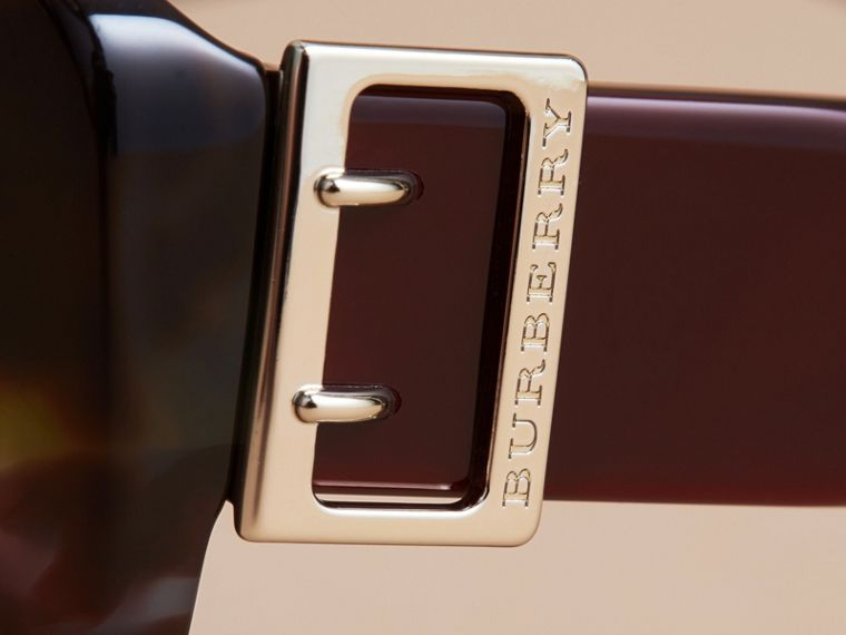 Buckle Detail Oversize Square Frame Sunglasses in Apple Green - Women | Burberry - cell image 1