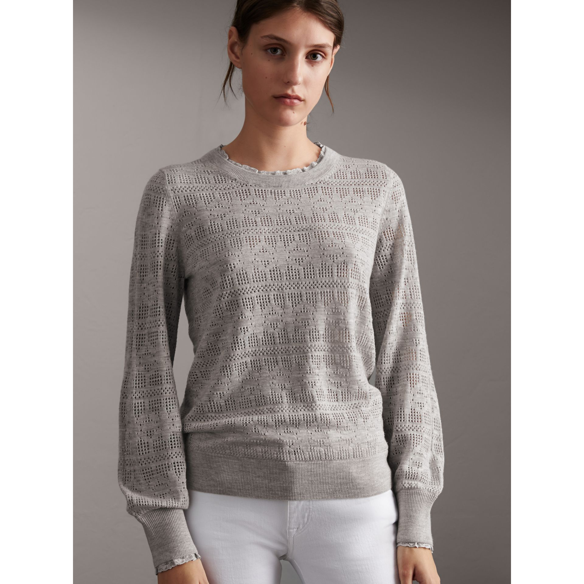 Lace Trim Pointelle Wool Cashmere Sweater in Light Grey Melange - Women | Burberry - gallery image 6