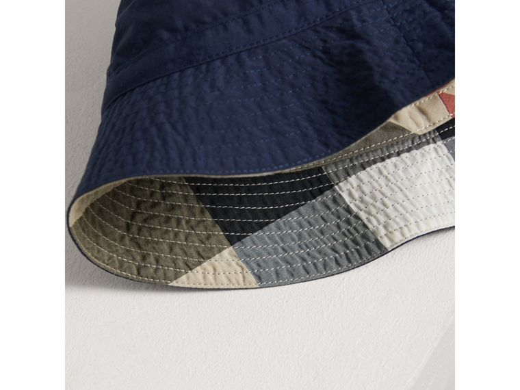 Check Detail Bucket Hat in Indigo - Boy | Burberry United States - cell image 1