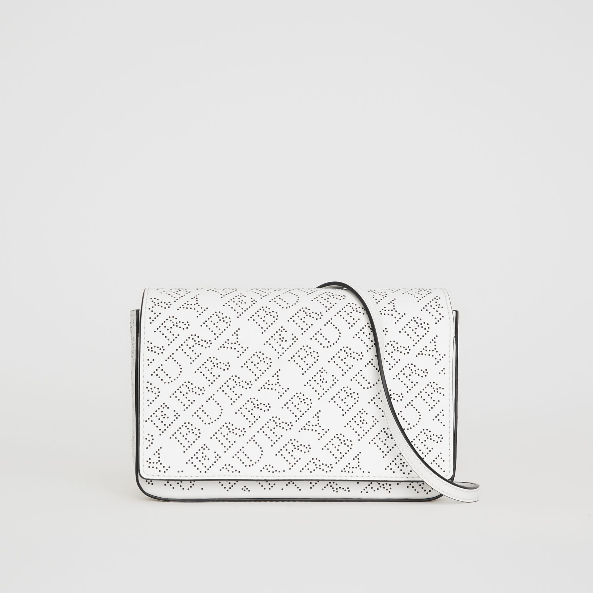 Perforated Logo Leather Wallet with Detachable Strap in White - Women | Burberry Australia - gallery image 0