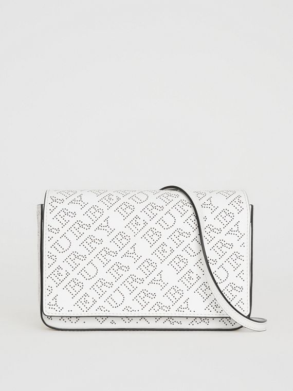 Perforated Logo Leather Wallet with Detachable Strap in White