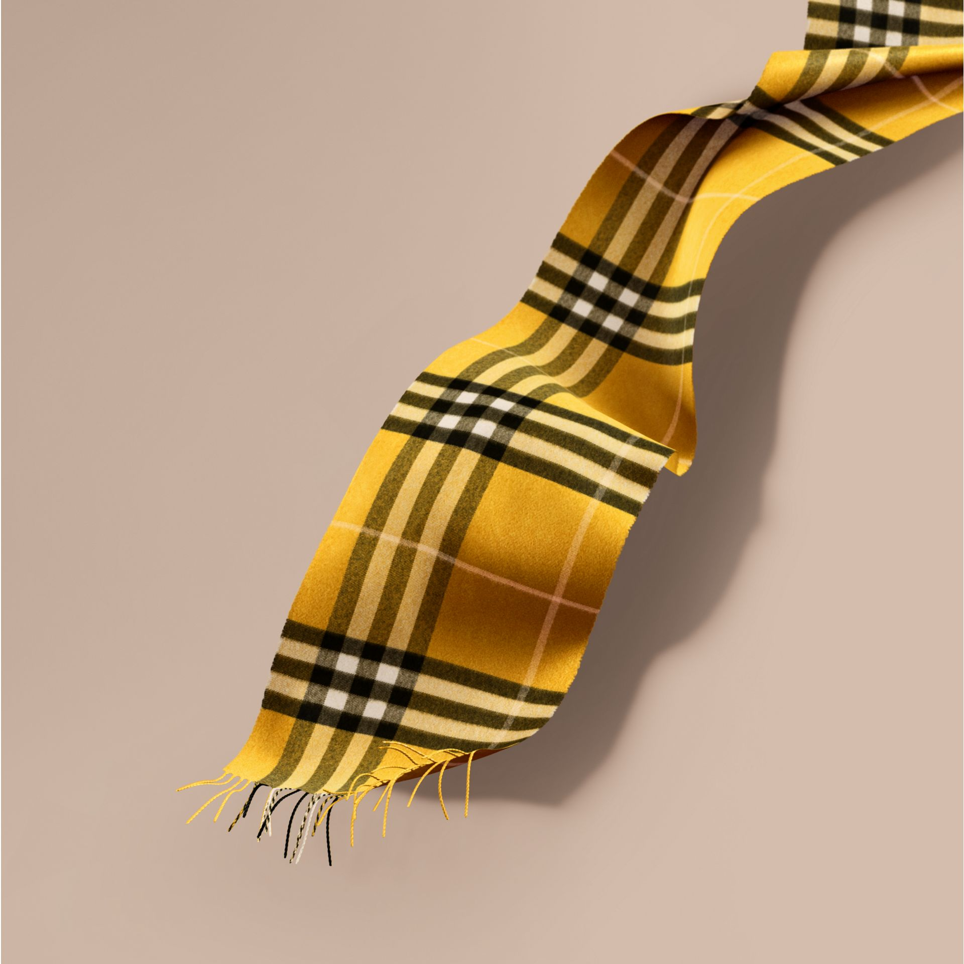 The Classic Cashmere Scarf in Check  Gorse Yellow - gallery image 1