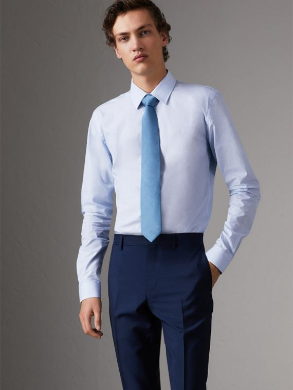 Slim Fit Striped Cotton Poplin Shirt in City Blue