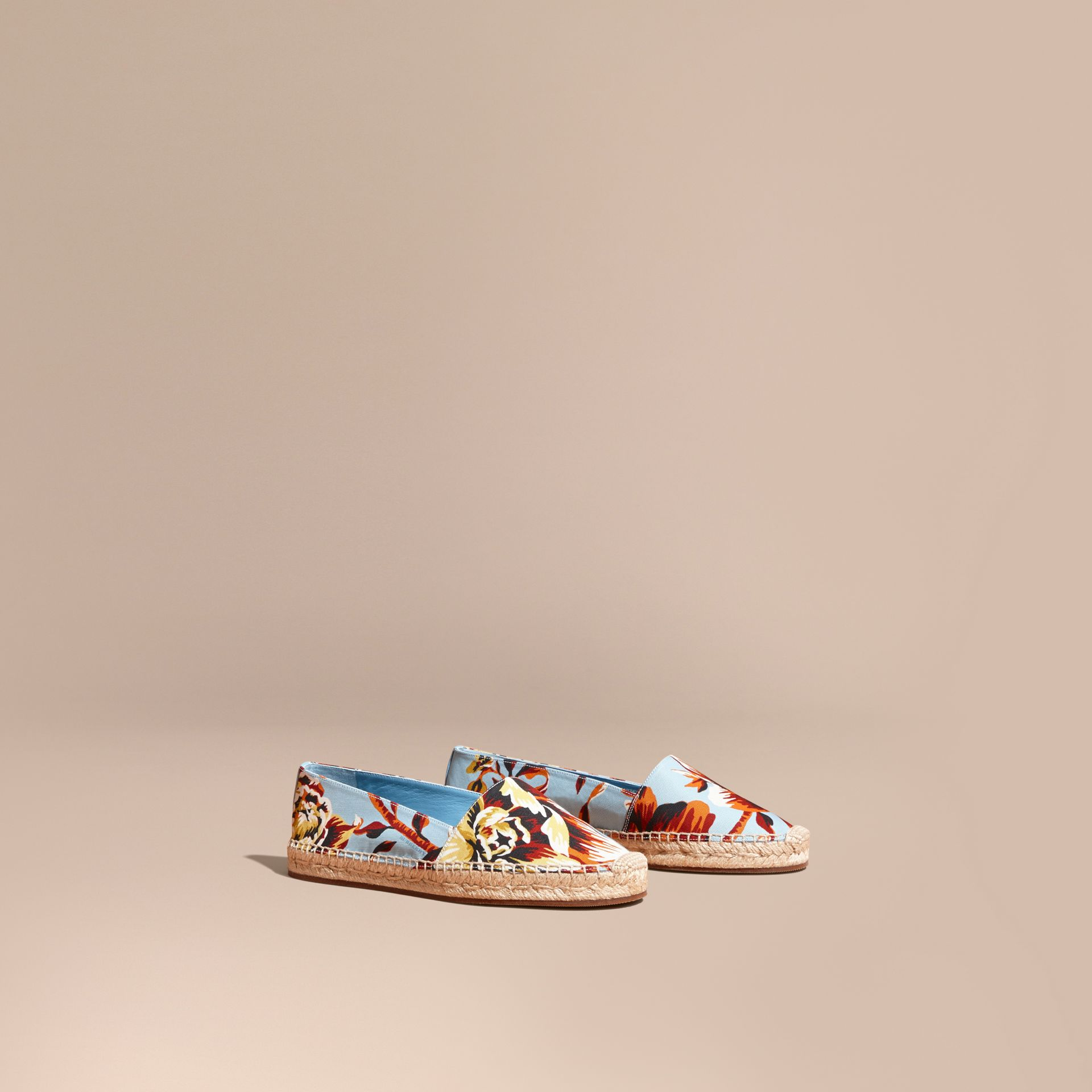 Peony Rose Print Canvas Espadrilles in Vibrant Orange | Burberry United States - gallery image 0