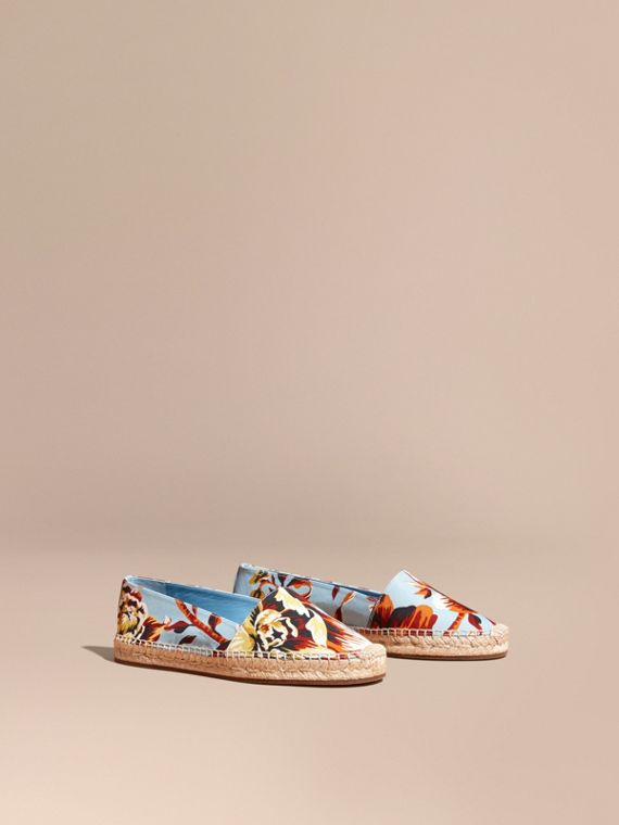 Peony Rose Print Canvas Espadrilles in Vibrant Orange - Women | Burberry