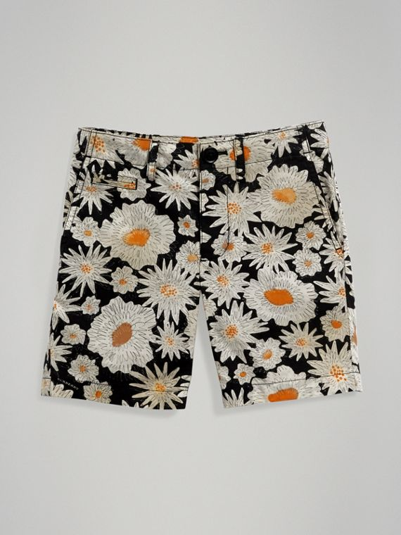 Daisy Print Cotton Chino Shorts in Black