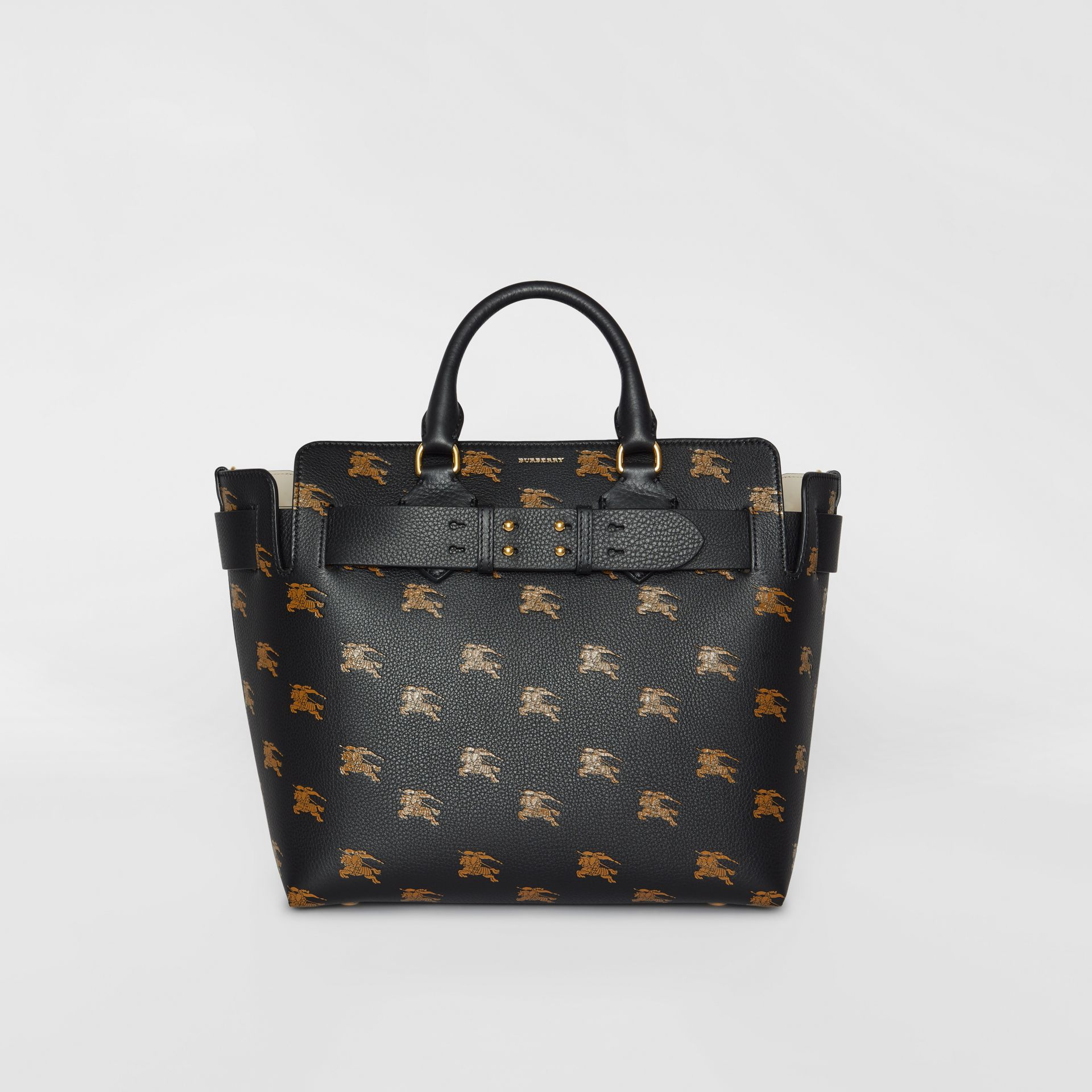 Borsa The Belt media in pelle con cavaliere equestre (Nero) - Donna | Burberry - immagine della galleria 0