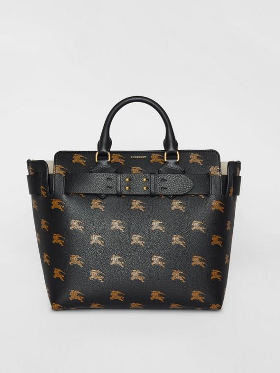 Borsa The Belt media in pelle con cavaliere equestre (Nero)