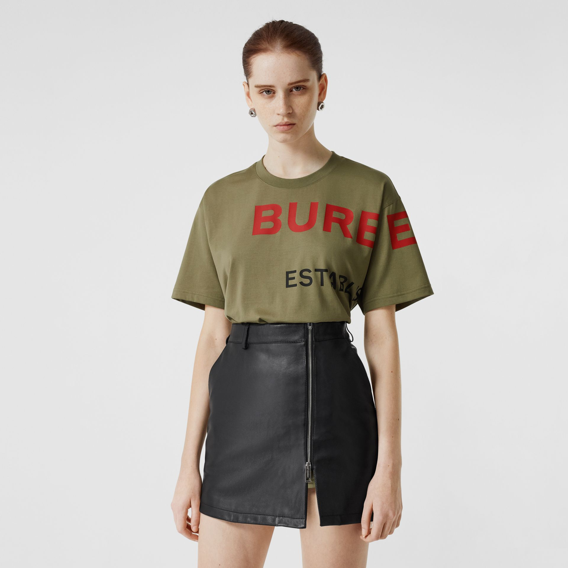 Horseferry Print Cotton Oversized T-shirt in Dark Moss - Women | Burberry - gallery image 0