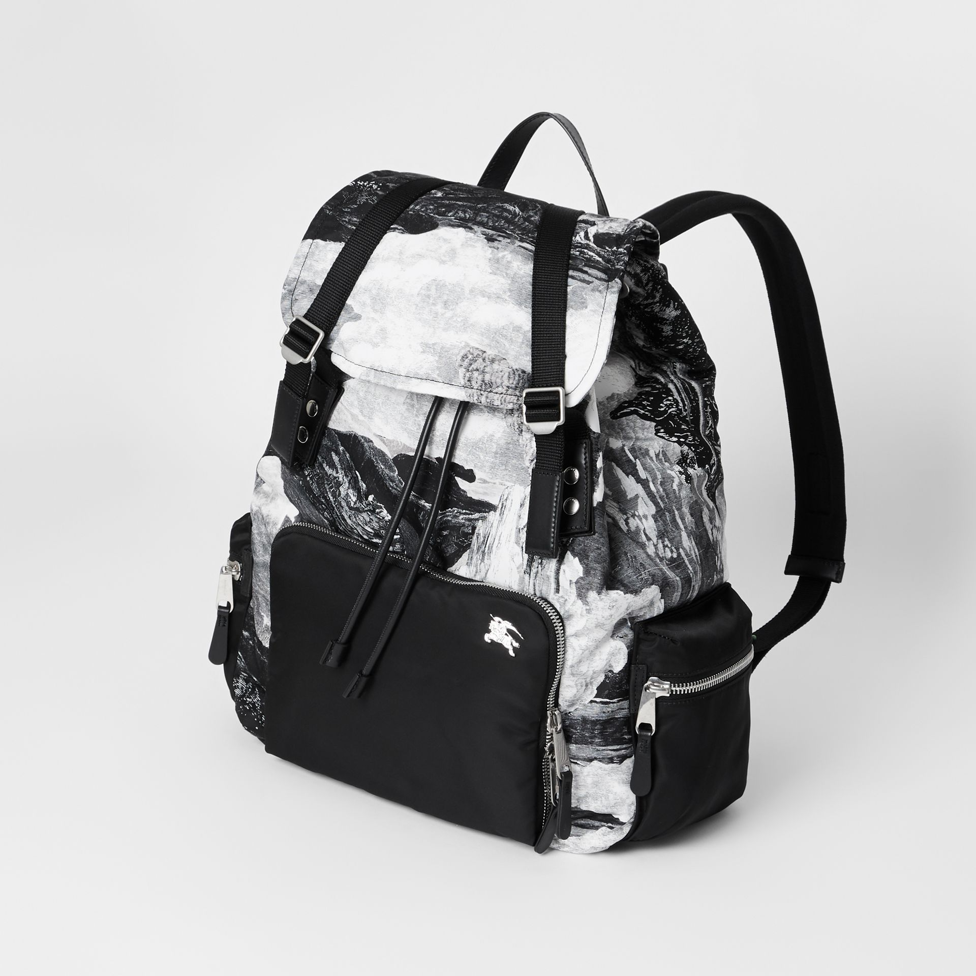 The Extra Large Rucksack in Dreamscape Print in Black/white - Men | Burberry United Kingdom - gallery image 2