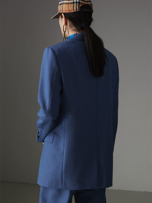 Wool Mohair Tailored Jacket in Bright Navy - Women | Burberry Singapore - cell image 2