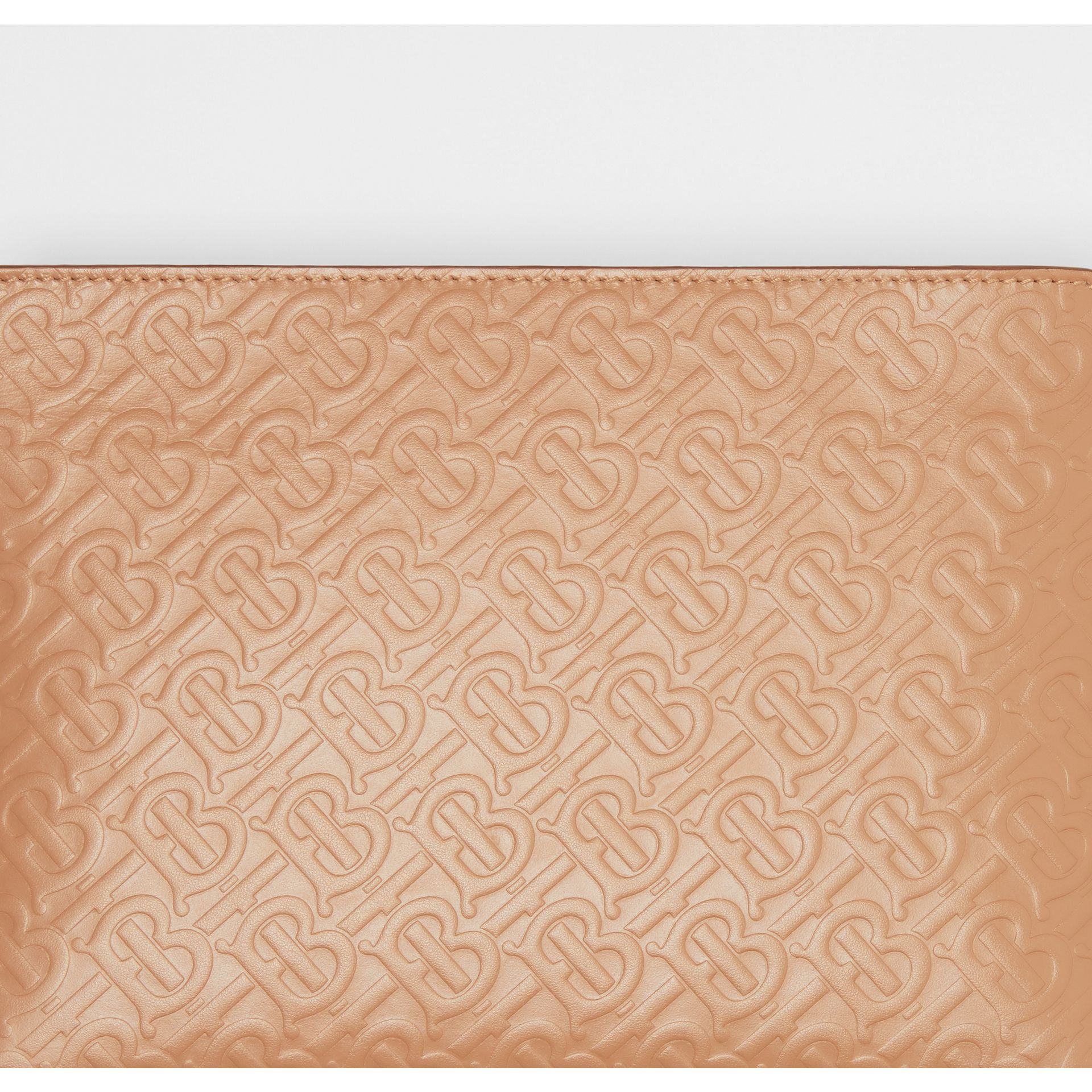 Medium Monogram Leather Clutch in Light Camel - Women | Burberry United Kingdom - gallery image 1