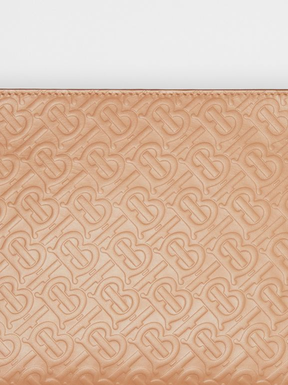 Medium Monogram Leather Clutch in Light Camel - Women | Burberry United States - cell image 1