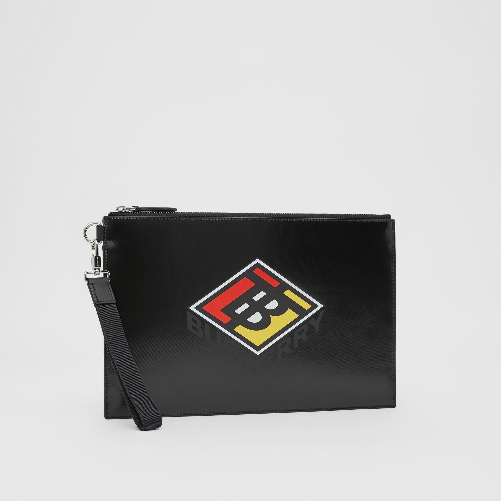 Logo Graphic Canvas Zip Pouch in Black | Burberry - gallery image 4