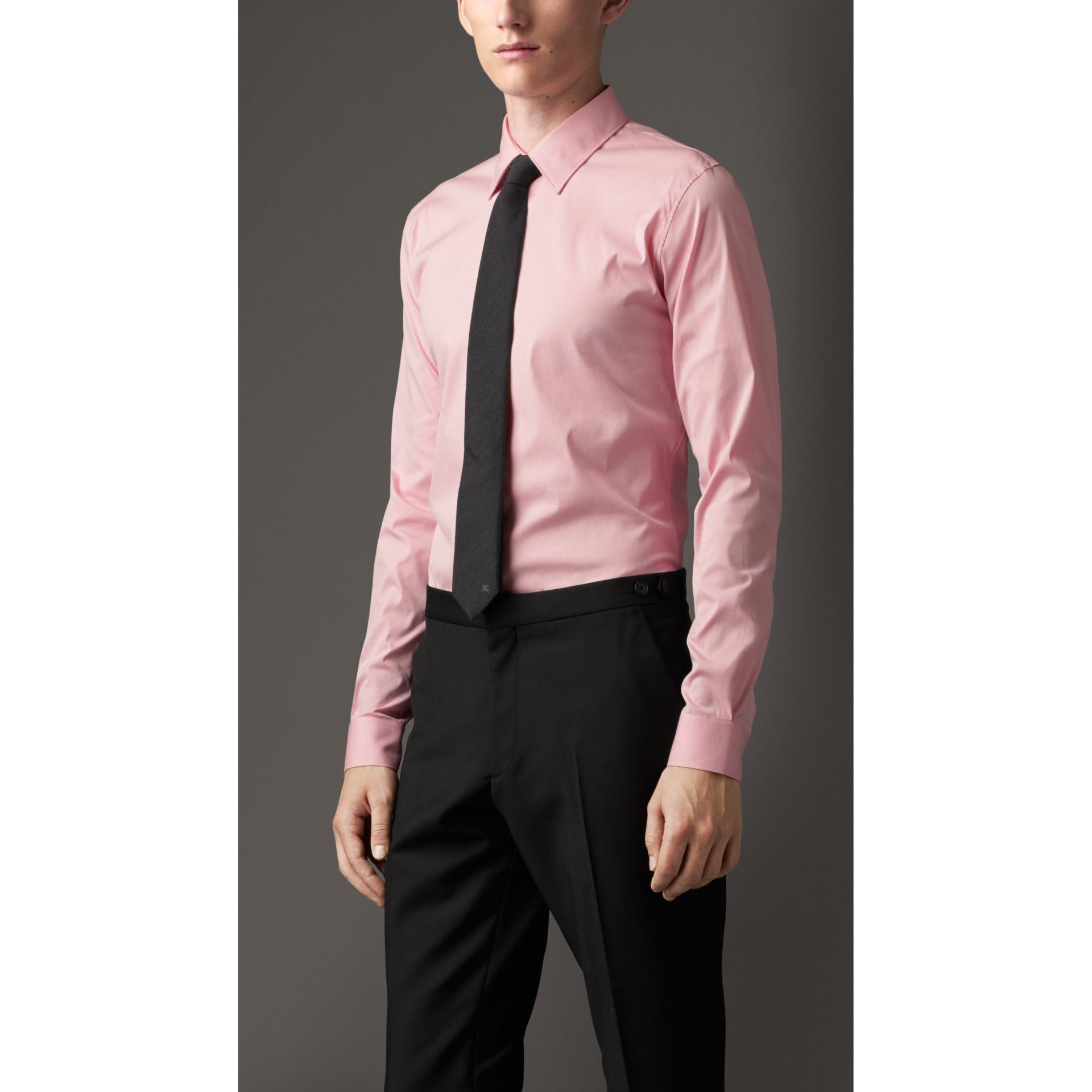 Slim Fit Stretch Cotton Blend Shirt in City Pink - gallery image 1