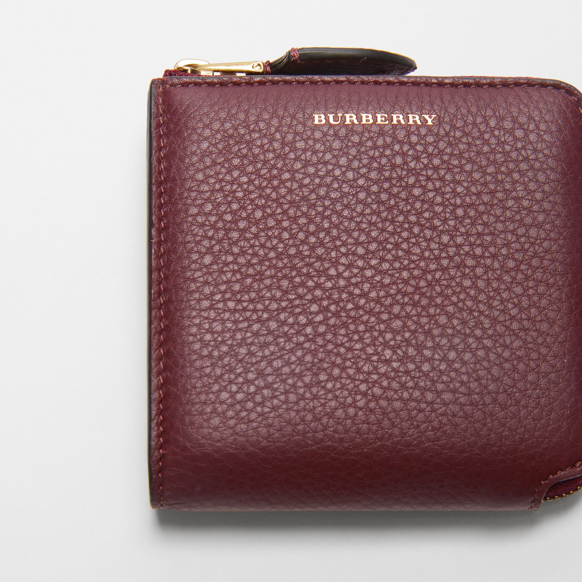 Grainy Leather Square Ziparound Wallet in Deep Claret - Women | Burberry United Kingdom - gallery image 1