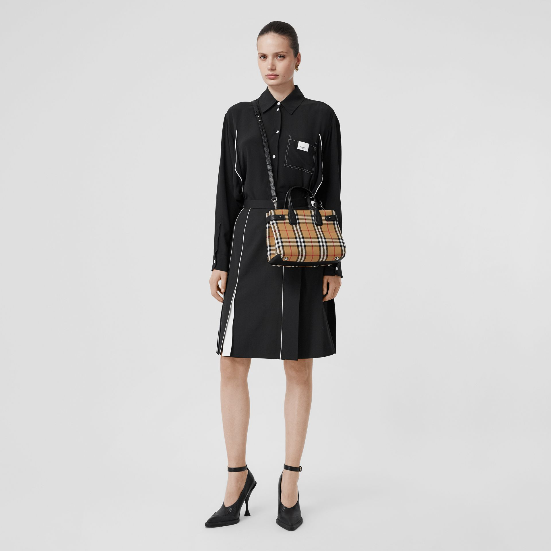 The Small Banner in Vintage Check and Leather in Black - Women | Burberry Canada - gallery image 9