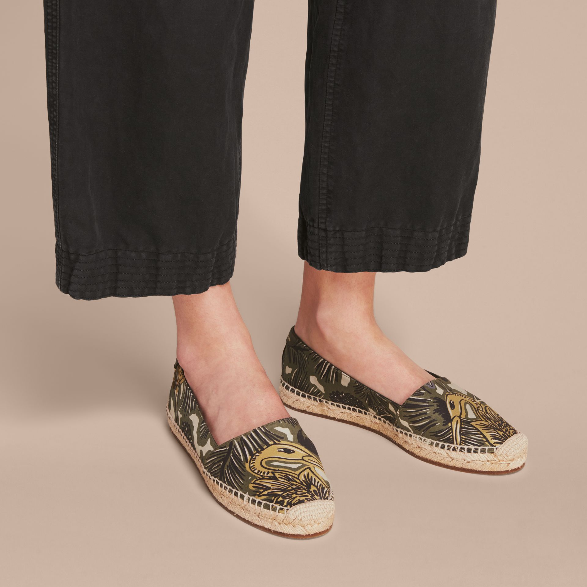 Beasts Print Cotton Blend Espadrilles in Clay Green - Women | Burberry United Kingdom - gallery image 3