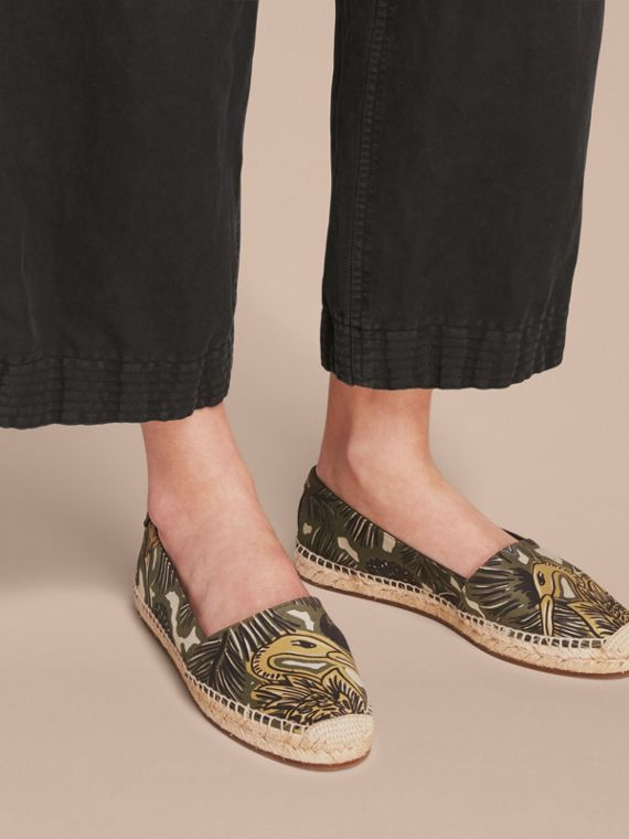 Beasts Print Cotton Blend Espadrilles in Clay Green - Women | Burberry - cell image 2