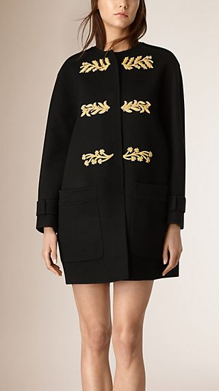 Goldwork Appliqué Collarless Cashmere Coat