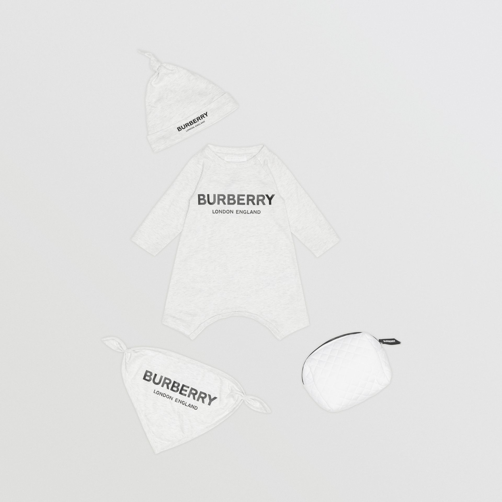 Logo Print Cotton Three-piece Baby Gift Set in White Melange - Children | Burberry Singapore - gallery image 0