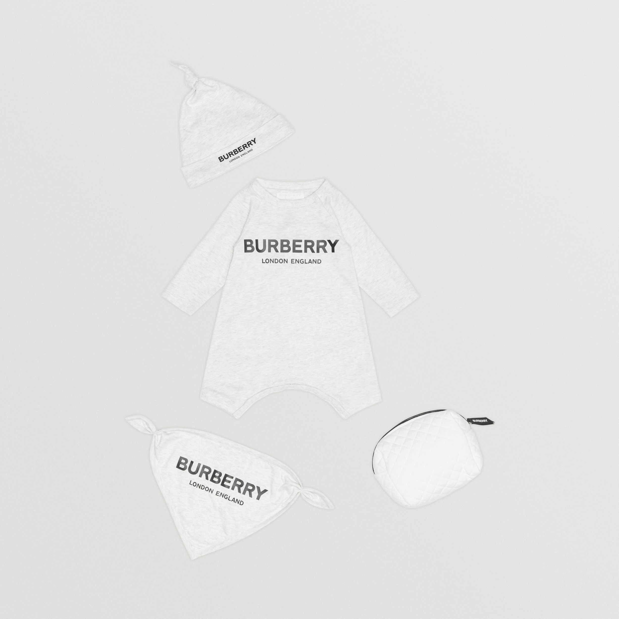 Logo Print Cotton Three-piece Baby Gift Set in White Melange - Children | Burberry - 1