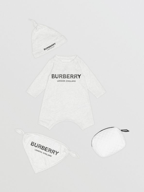 Logo Print Cotton Three-piece Baby Gift Set in White Melange
