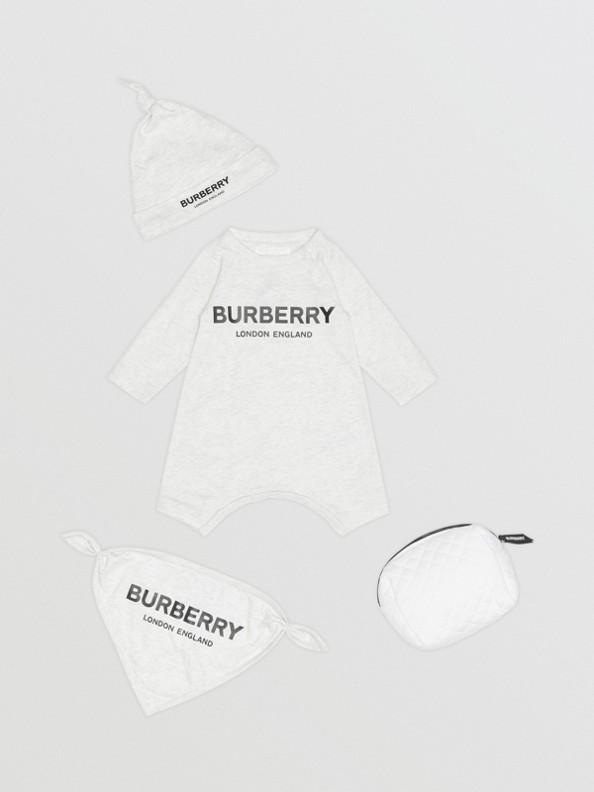 Gift set para bebê de três peças de algodão com estampa de logotipo (Branco Mesclado)