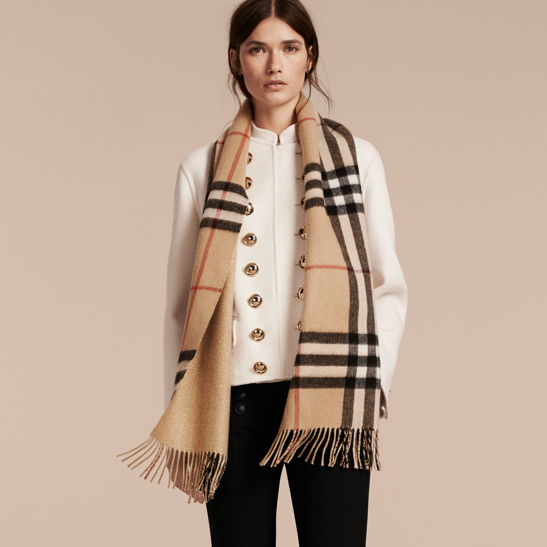Reversible Metallic Check Cashmere Scarf in Camel | Burberry - gallery image 2