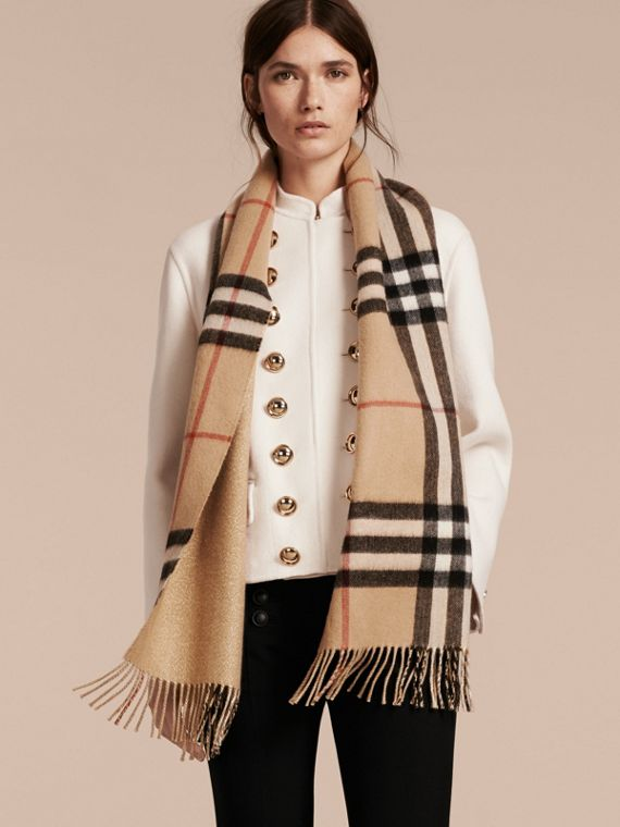 Reversible Metallic Check Cashmere Scarf in Camel | Burberry United States - cell image 2