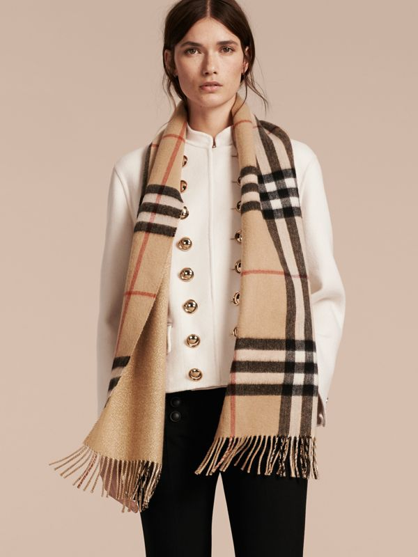 Reversible Metallic Check Cashmere Scarf in Camel | Burberry - cell image 2