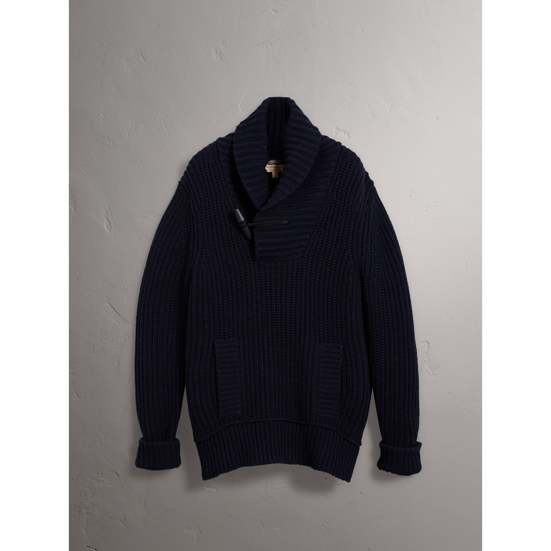 Shawl Collar Wool Cashmere Sweater in Navy - Men | Burberry - gallery image 3