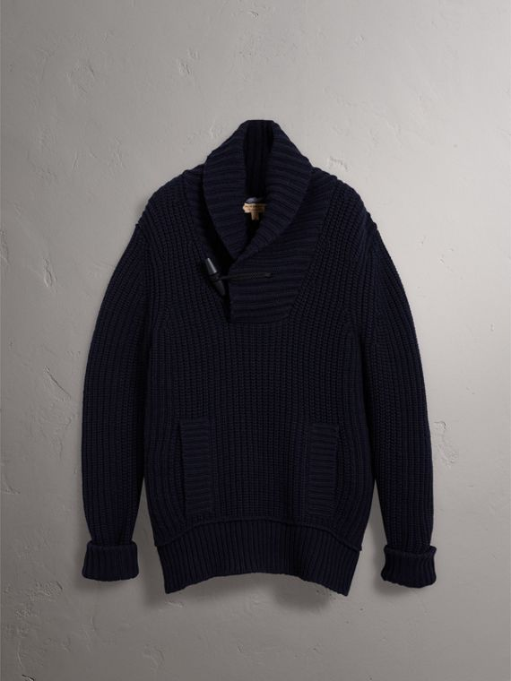Shawl Collar Wool Cashmere Sweater in Navy - Men | Burberry - cell image 3