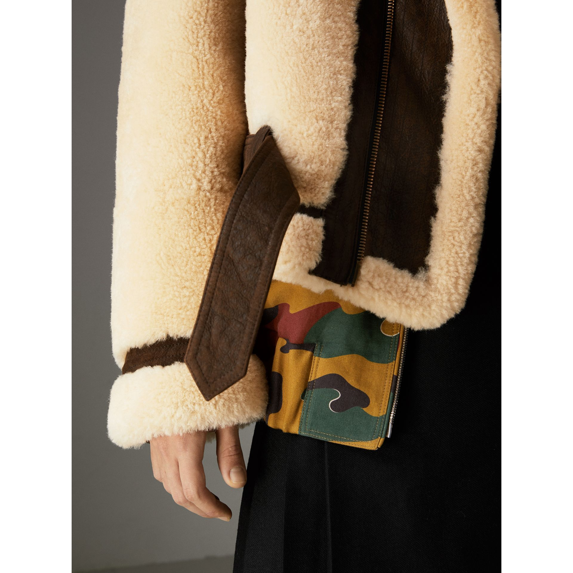 Reissued 2010 Shearling Aviator in Sand | Burberry Singapore - gallery image 1