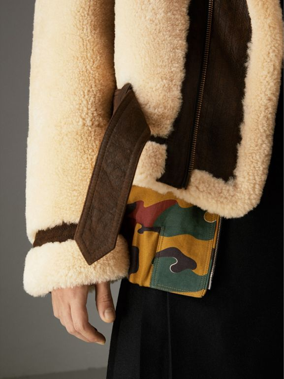 Reissued 2010 Shearling Aviator in Sand | Burberry United Kingdom - cell image 1