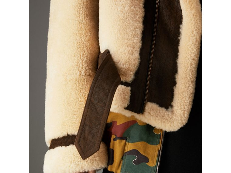 Reissued 2010 Shearling Aviator in Sand | Burberry - cell image 1
