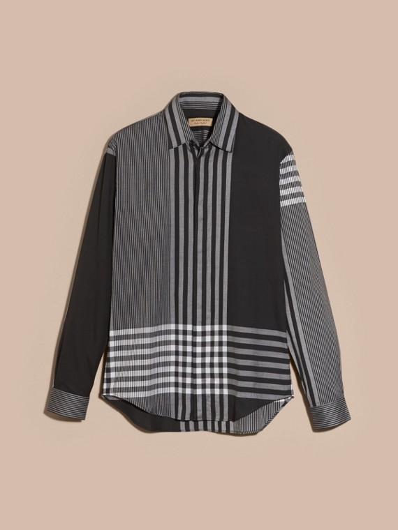 Nero Camicia in cotone con motivo check grafico Nero - cell image 3