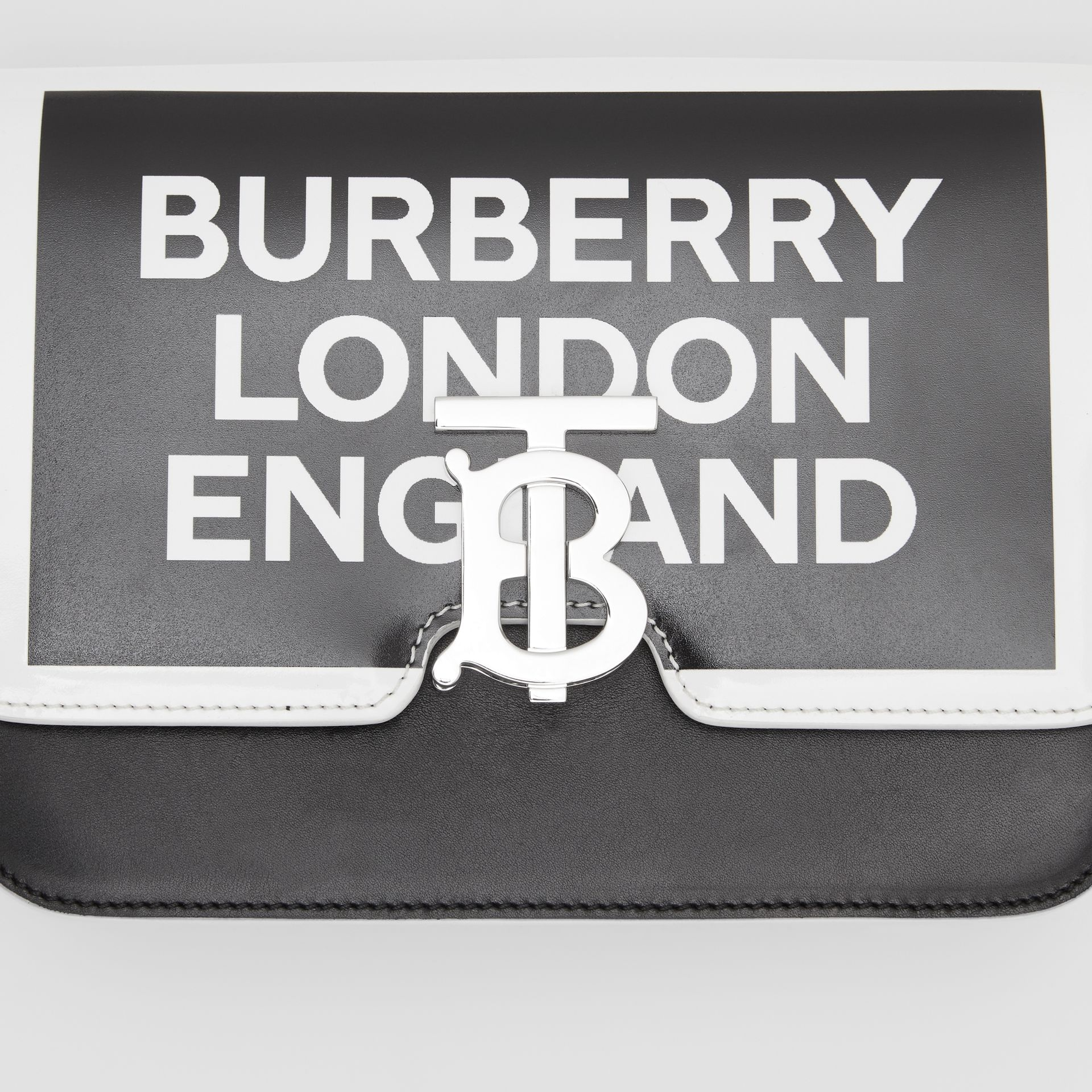 Small Logo Print Leather TB Bag in Black/white - Women | Burberry United Kingdom - gallery image 1