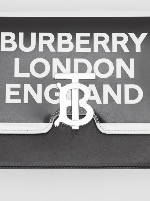 Small Logo Print Leather TB Bag in Black/white - Women | Burberry Australia - cell image 1