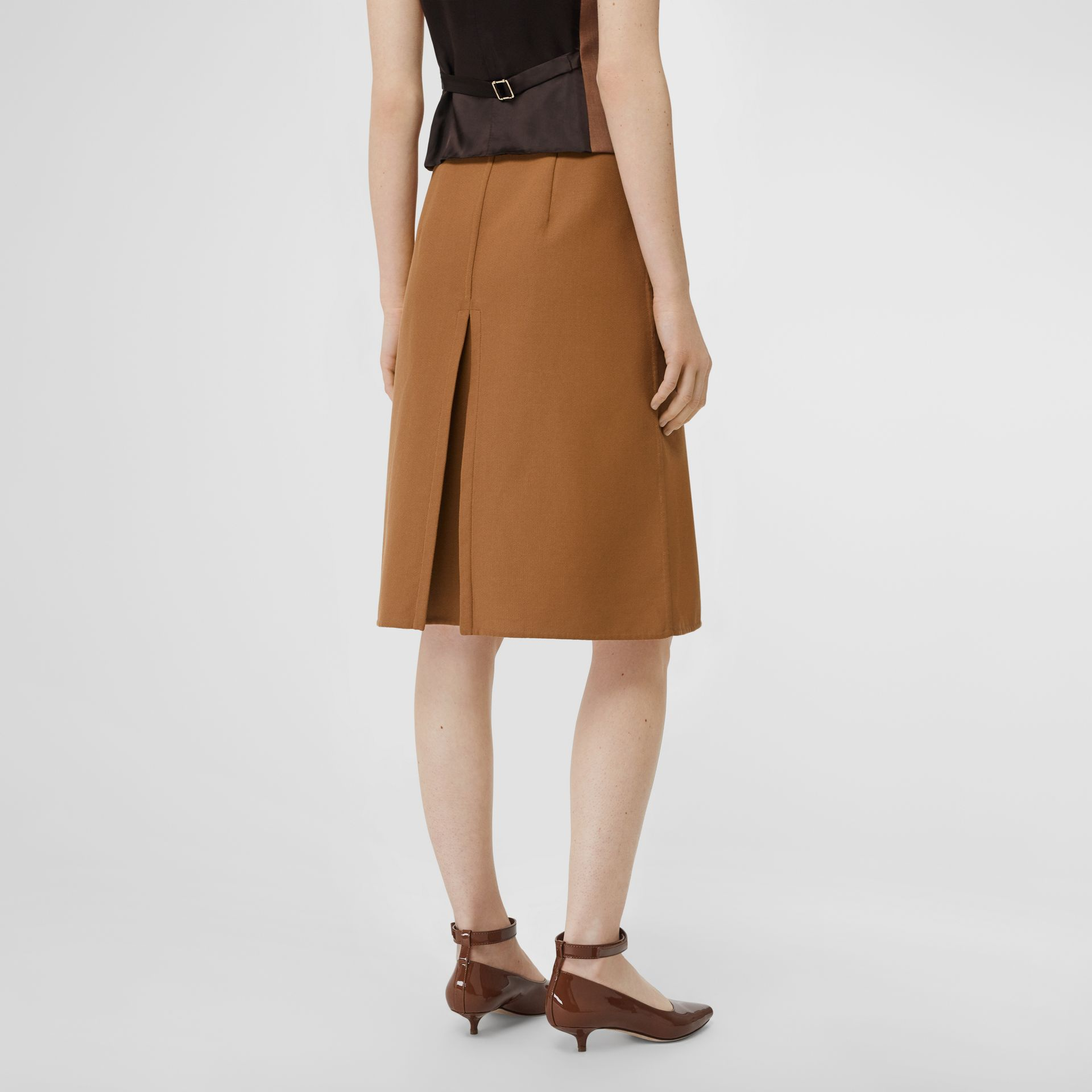 Box Pleat Detail Cotton A-line Skirt in Bronze - Women | Burberry - gallery image 2