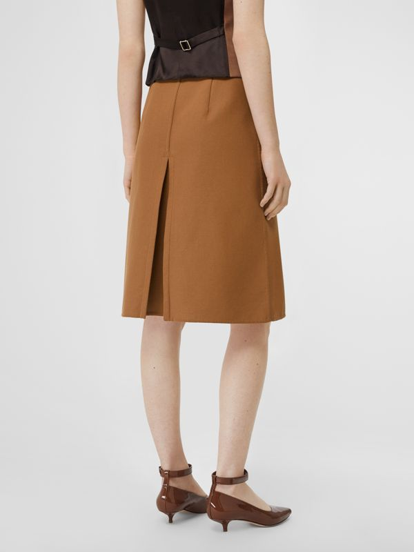 Box Pleat Detail Cotton A-line Skirt in Bronze - Women | Burberry - cell image 2