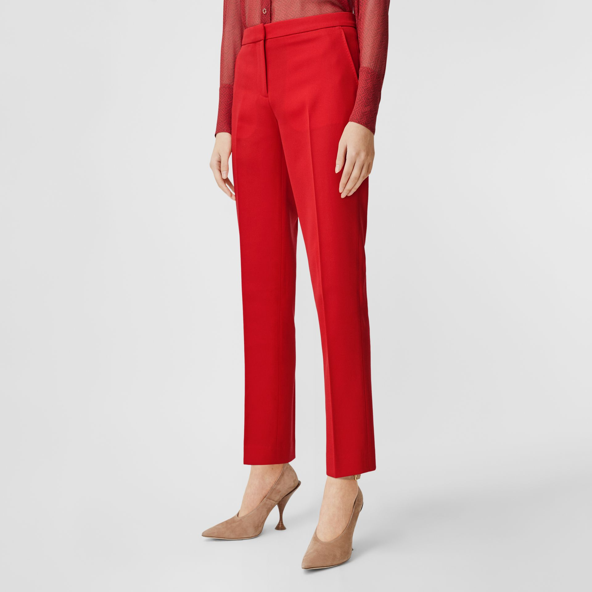 Wool Tailored Trousers in Bright Red - Women | Burberry United Kingdom - gallery image 4