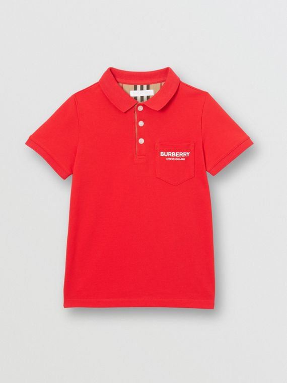Icon Stripe Placket Cotton Piqué Polo Shirt in Bright Red