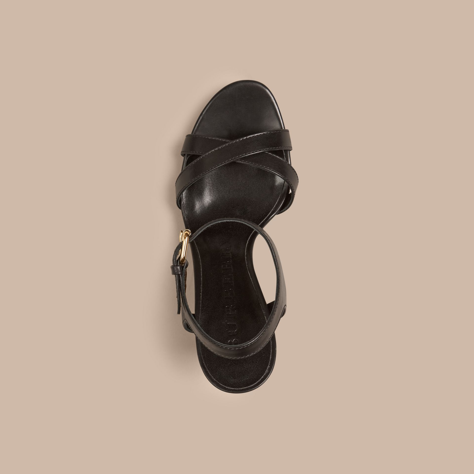 House Check and Leather Wedge Sandals in Black - Women | Burberry Canada - gallery image 4