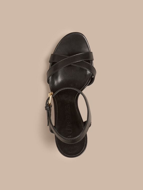 House Check and Leather Wedge Sandals in Black - Women | Burberry - cell image 3