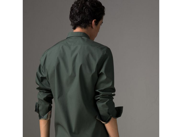 Check Detail Stretch Cotton Poplin Shirt in Dark Forest Green - Men | Burberry United States - cell image 4