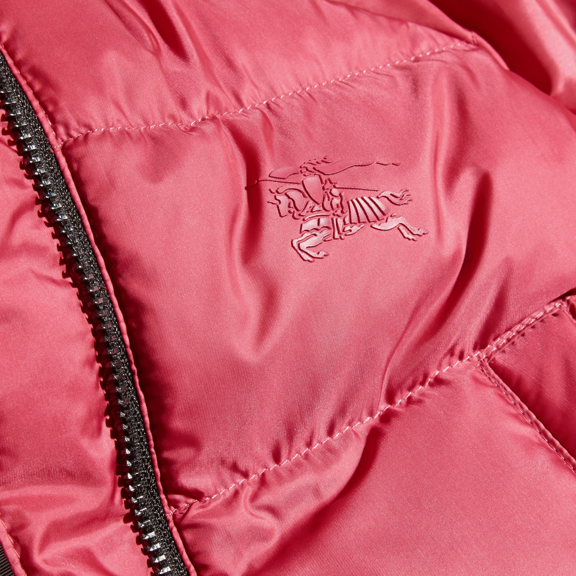 Hooded Down-filled Puffer Jacket with Mittens in Peony Rose | Burberry - gallery image 2